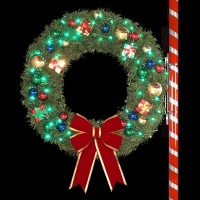 4' RMP Wreath with Metallic<br />Ornaments and C7 LED