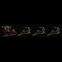 31' Silhouette Santa and Sled<br />with Reindeer