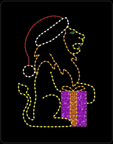 10' Christmas Lion with Glitter Mesh and LED