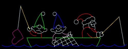 10' x 28' Santa and Elves Fishing