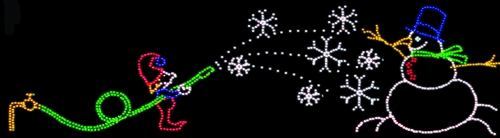 15' x 53' Elf Making Snowman