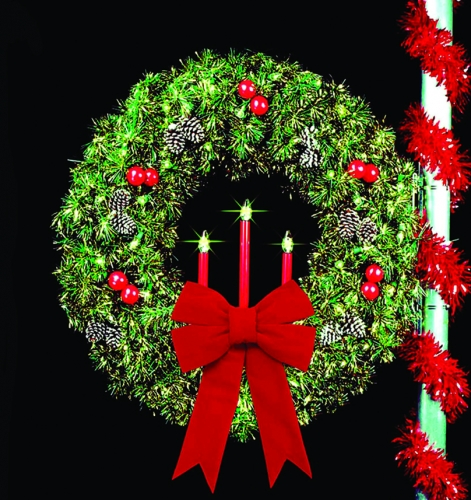 61 in Traditional Tri Candle Royal Pine Wreath