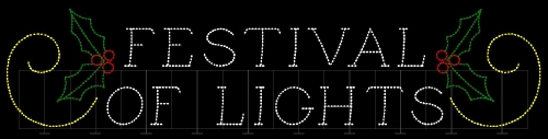 12' x 58' Festival Of Lights Sign with Holly and Scrolls