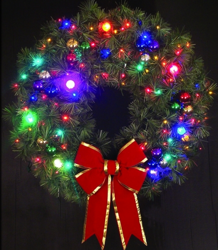 4' Cascade Wreath with LED lighted Ornaments