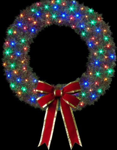 8' Cascade Wreath with C7 LED and Bow