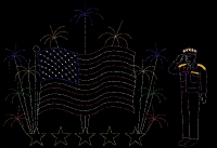 36' x 42' Animated Flag and Fireworks with 25' General Eisen