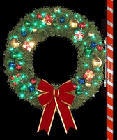 4' RMP Wreath with Metallic Ornaments and C7 LED