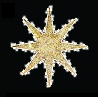 3' 8 Point Glittered Star